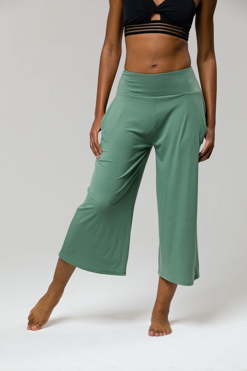 Onzie wide leg crop yoga leggings sage green