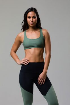 Onzie Mudra padded sports yoga bra top sage green at yoga emporium