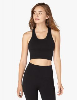 Beyond yoga cropped bra tank top for yoga black supported
