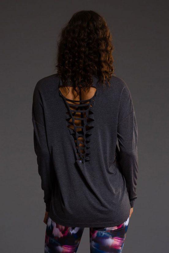 Onzie braided yoga tank top slate grey