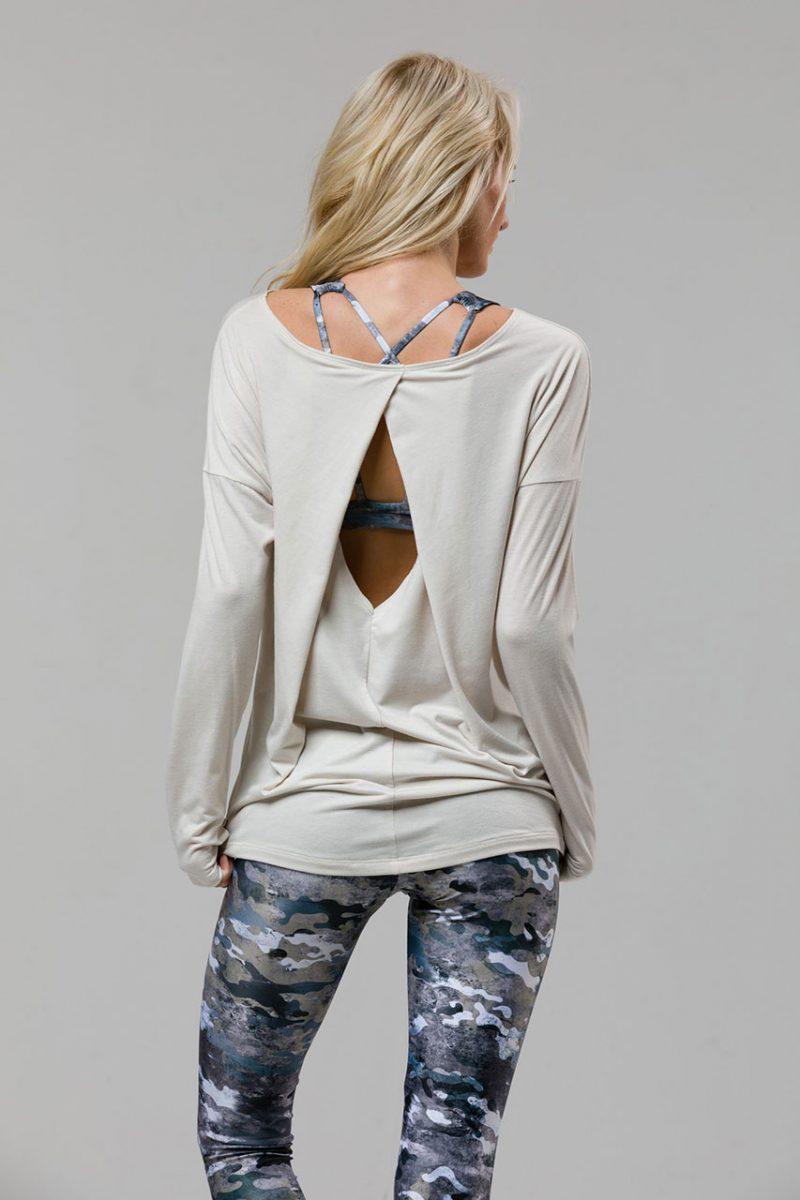 Onzie diamond back ivory long sleeve top yoga