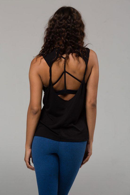 Onzie twist back top black yoga