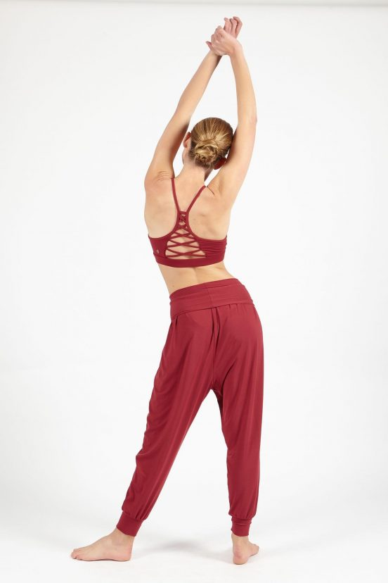 dharma bums cherry red relax pants yoga