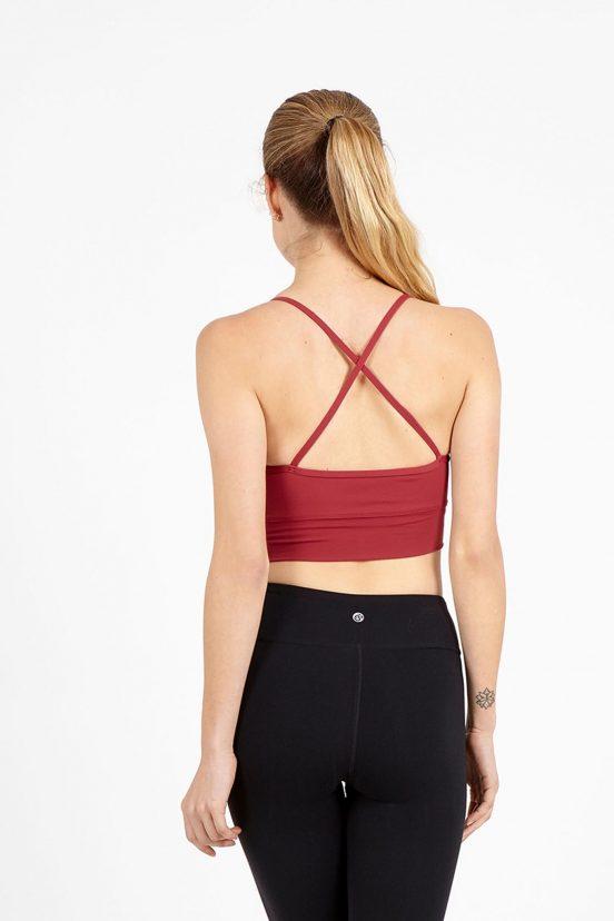 dharma bums yoga ellis crop top bra cherry red