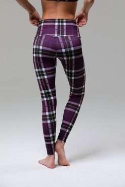 onzie full length yoga high waist leggings plaid