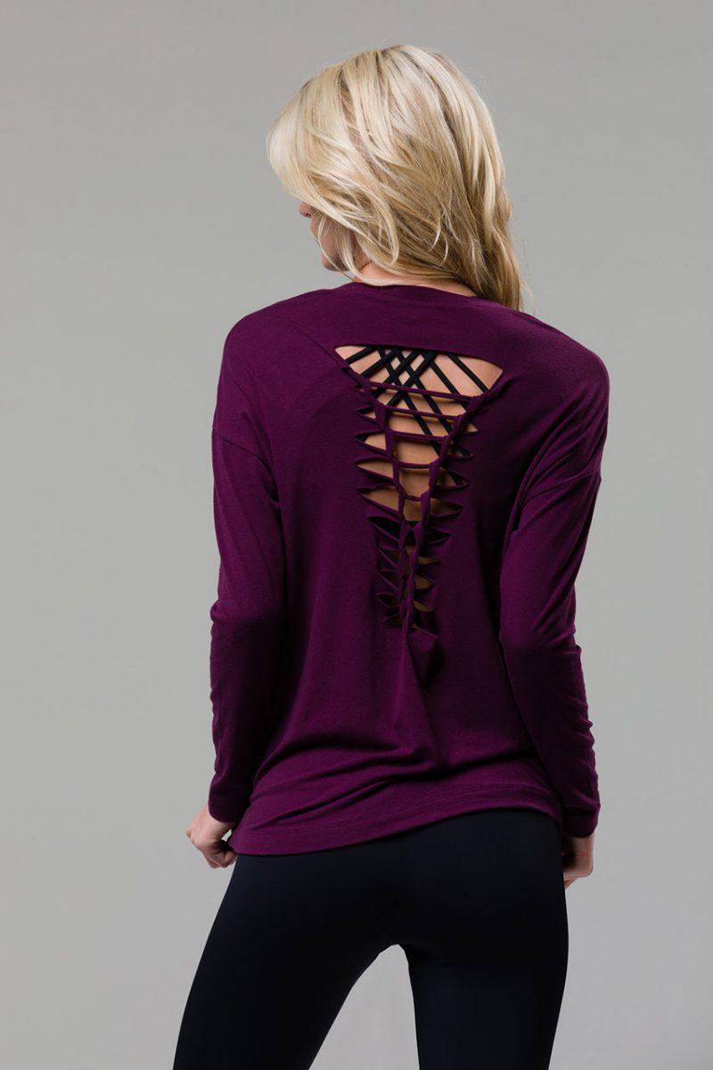 onzie braid back top long sleeve yoga aubergine