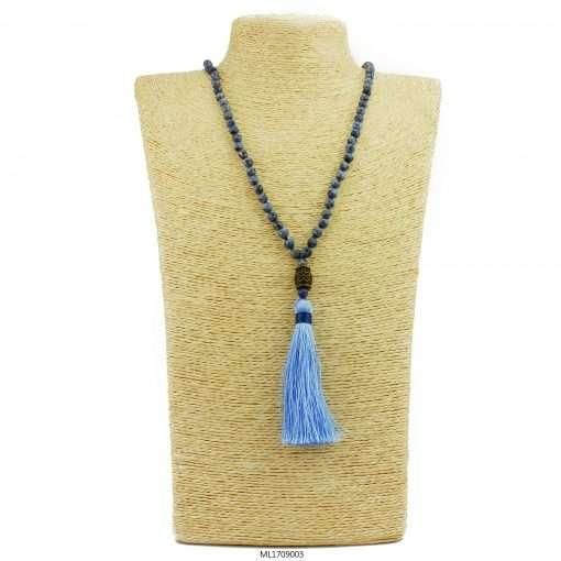 mala beads blue dragons vein agate bracelet necklace set