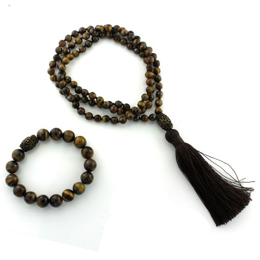 mala beads tigers eye bracelet necklace set