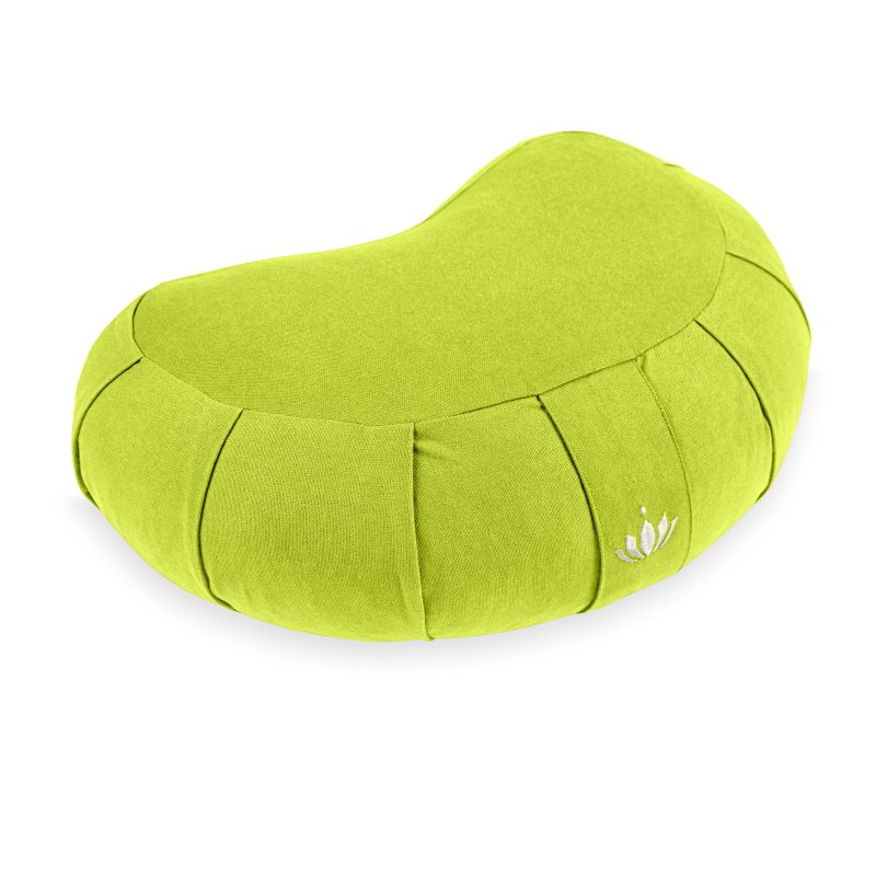lotuscrafts crescent zafu mediation cushion bamboo green