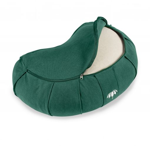 lotuscrafts crescent zafu mediation cushion forrest green