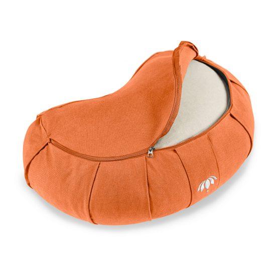lotuscrafts crescent zafu mediation cushion terra orange