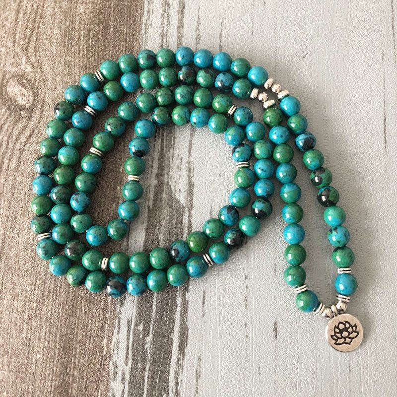 azurtite mala bead necklace