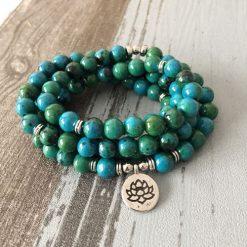 azurtite mala bead necklace