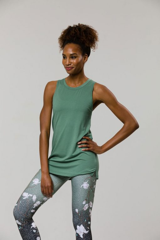 onzie braid back yoga vest sage