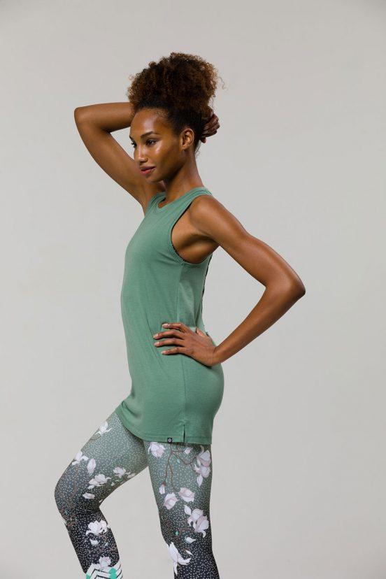 onzie braid back yoga vest sage