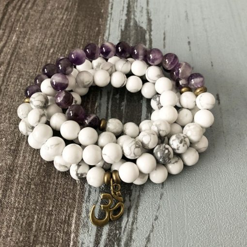 howlite amethyst mala bead necklace