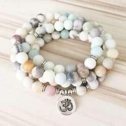 mala bead necklace howlite om pendant