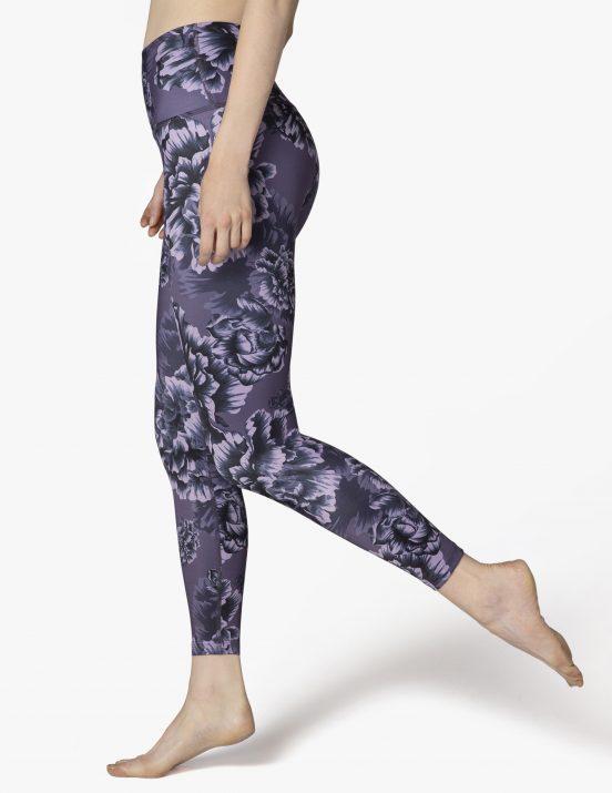 beyond yoga lux peony floral purple high waisted midi leggins