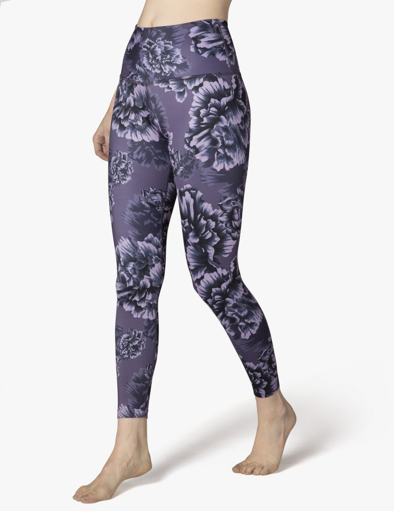 beyond yoga lux peony floral purple high waisted midi leggins