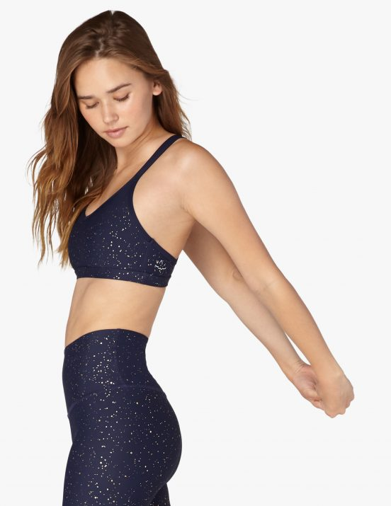 beyond yoga studio bra navy gold speckle sports