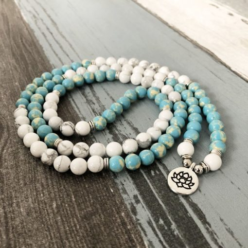 mala bead necklace howlite om pendant