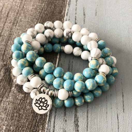 mala bead necklace blue howlite om pendant
