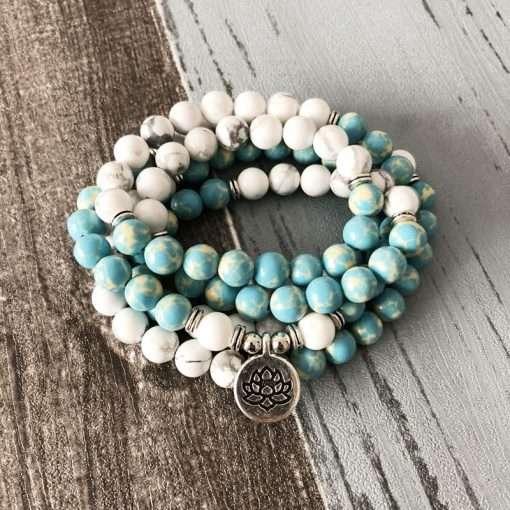 mala bead necklace blue howlite om pendant