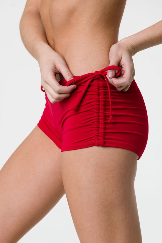 onzie side tie hot yoga shorts red
