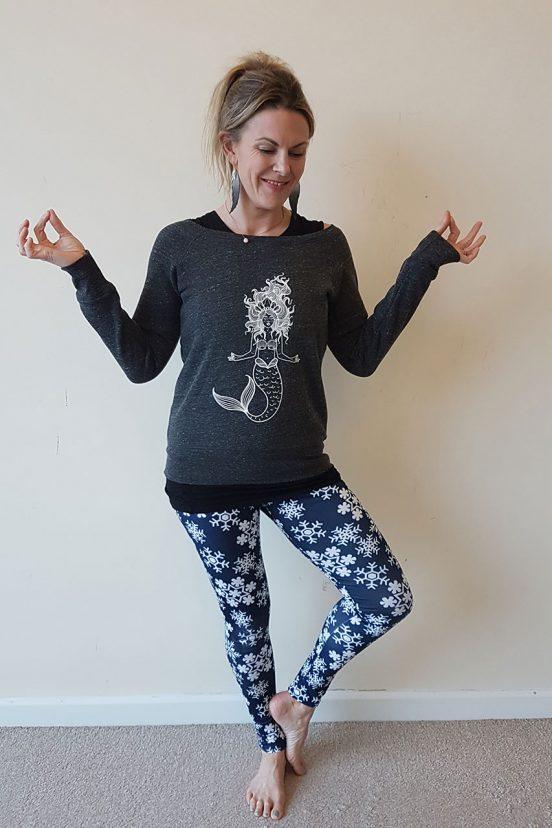 Oceanflow Yogawear meditating mermaid jumper charcoal grey yoga
