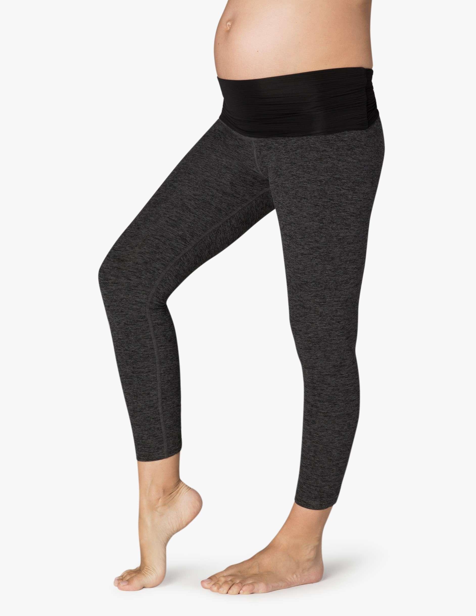 b86db2497c0cd5 Beyond Yoga MATERNITY Fold Down Capri Legging – Black Charcoal ...