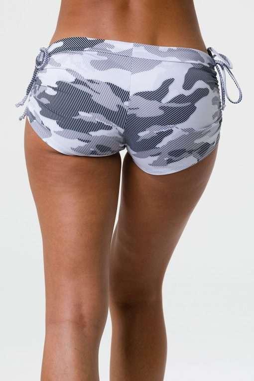 onzie side tie yoga shorts dust camo