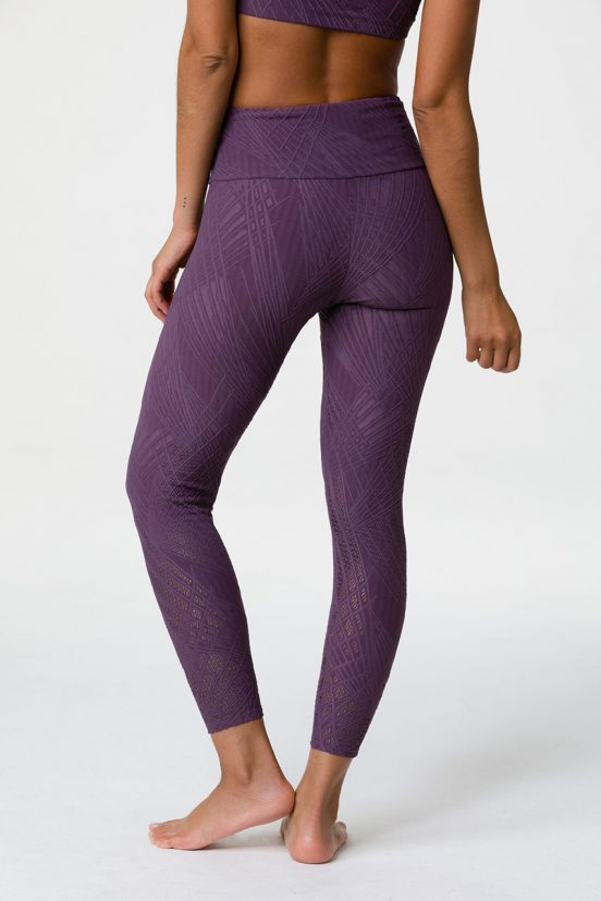 onzie selenite high waisted midi yoga leggings purple haze