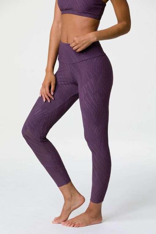 onzie selenite high waisted midi yoga leggings purple haze