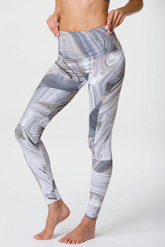 Onzie graphic full length yoga leggings marble geo grey white