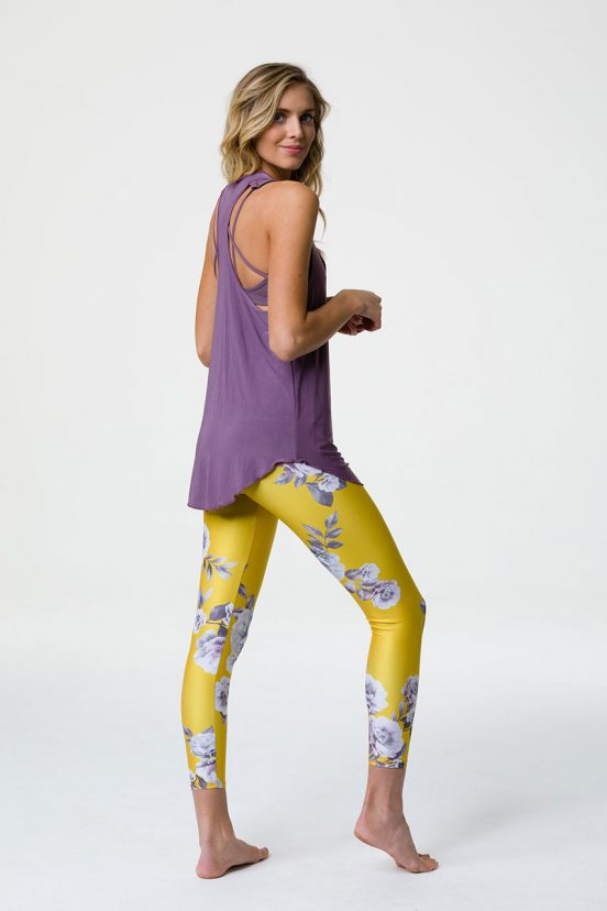 onzie glossy flow yoga tank top purple haze