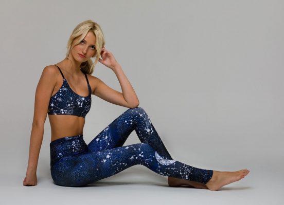 onzie graphic elastic yoga bra constellation