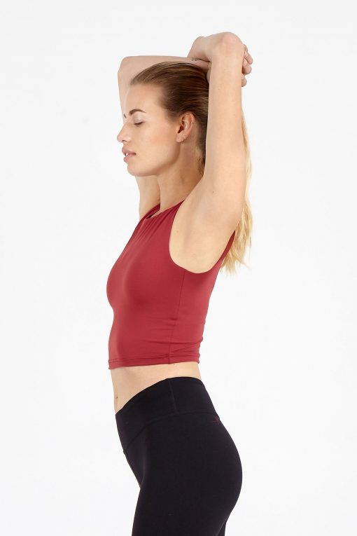 dharma bums cherry crop yoga tee