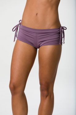 onzie side tie bikram hot yoga shorts purple haze