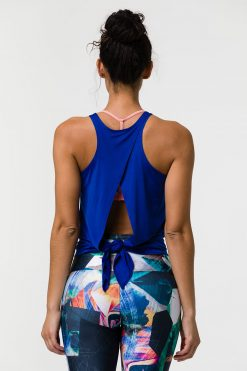 onzie tie back yoga tank top royal
