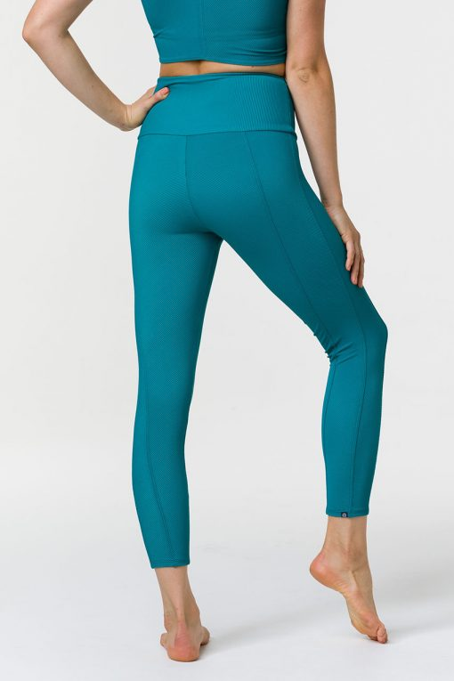 onzie high rise midi yoga leggings sweetheart teal rib