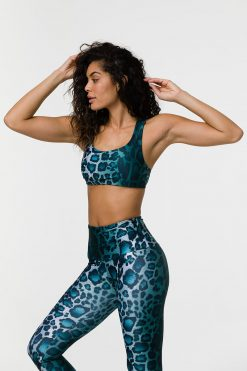 Onzie Mudra padded sports yoga bra top instinct leopard print at yoga emporium