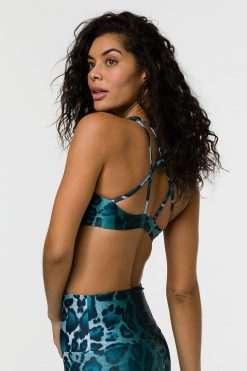 Onzie Mudra padded sports yoga bra top instinct leopard print at yoga emporium