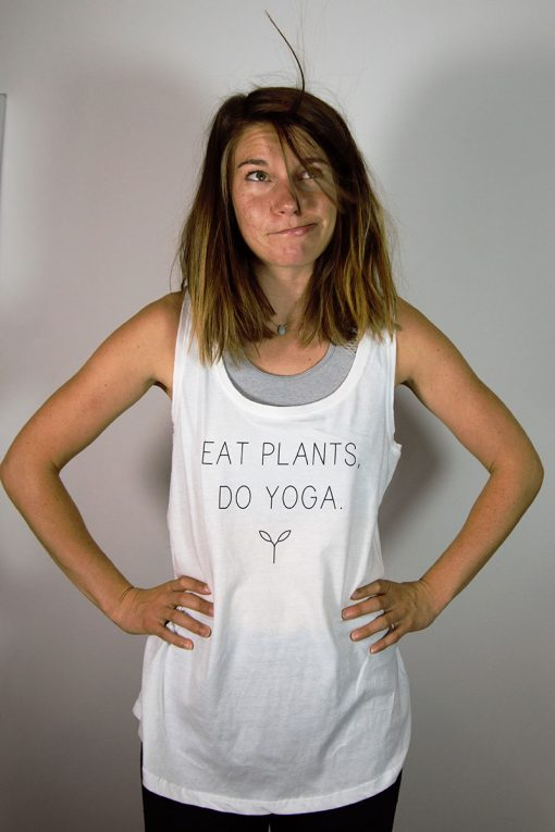 Stray Surf Co Eat Plants Do Yoga White Vest Top