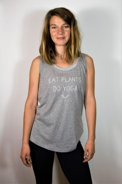 Stray Surf Co Eat Plants Do Yoga Grey Vest Top