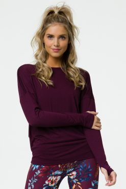 onzie_diamond_back_long_sleeve_top_burgundy