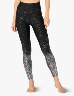 beyond yoga high waisted midi leggings iridescent speckle alloy ombre