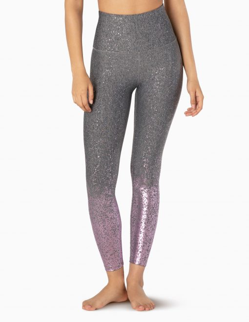 beyond yoga high waisted midi leggings black white mauve speckle alloy ombre
