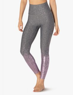 beyond yoga high waisted midi leggings black white mauve speckle alloy ombre