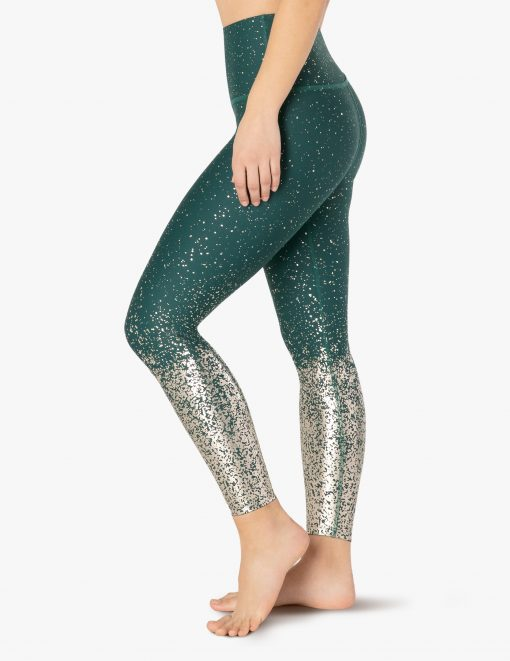 beyond yoga high waisted midi leggings hunter green antique gold speckle alloy ombre