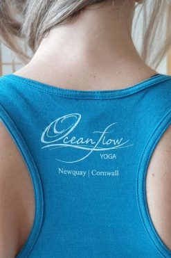 Oceanflow Yogawear Yoga Vest Top deep turquoise logo